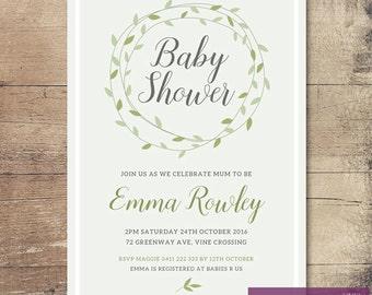 Printable Green Vine Baby Shower Invitation / Customisable Digital File / JPG or PDF / Green, Grey, White