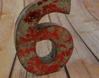 Fantastic vintage style red 3D metal sign number 6