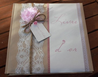 Range |mariage shabby chic| guestbook Pink old and pink powder