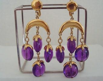 Vintage Trifari Waterfall Chandelier Purple Lucite Drop Dangle Earrings Gold Crescent Statement Boho Earrings Clip Chandelier Earrings