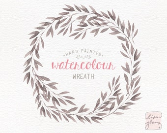 Watercolor wreath: hand painted floral wreath clipart / Wedding invitation clip art / branch wreath / commercial use / CM0084f