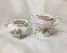 2 Shabby Antique Sugar Bowls - Pink White Purple Flowers - MZ Austria and 6 point Star Proof Mark - Great Planters Too
