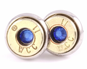 Bullet Earrings, Stud Earrings. 9MM Brass Bullets with Sapphire Glass Crystal. Bullet Jewelry. Gift for Her.