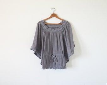 Vintage grey gauze top / crochet blouse top / boho top