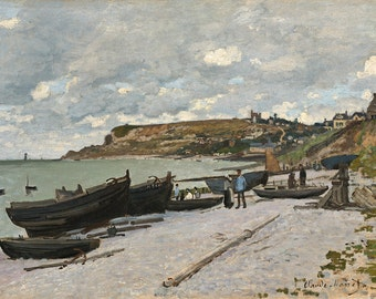 Claude Monet: Sainte-Adresse, Fishing Boats on the Shore. Fine Art Print/Poster.