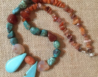 """Turquoise Rock. 24"""" Necklace. Turquoise"""
