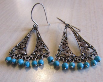 Filigree Sterling Silver and Turquoise Dangle Earrings