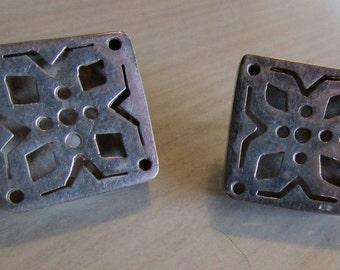 Unusual Square Boxlike Sterlling Silver Post Earrings