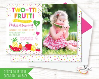 Two-tti Frutti Birthday Invitation / Twotti Frutti Party / Tutti Fruity / Tutti Fruitti Invitation / Tutti Frutti Party / DIGITAL