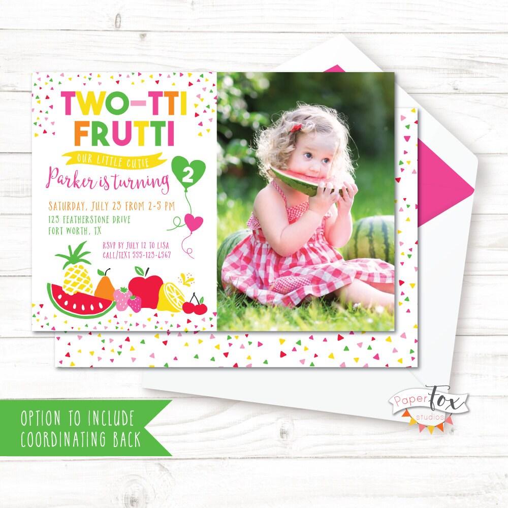 Two-tti Frutti Birthday Invitation / Twotti Frutti Party