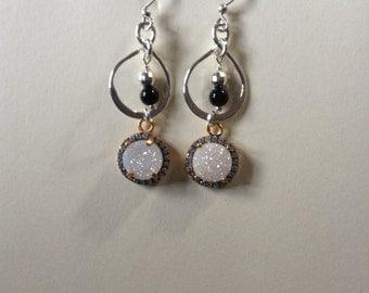 White Druzy earrings