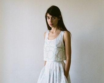 White pleated skirt, knee length skirt, high rise skirt, cotton skirt