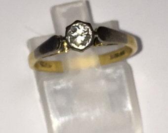 Late Victorian Diamond Solitaire ring 1881 Birmingham