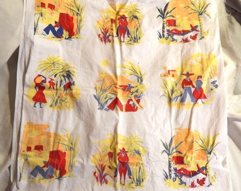 Retro or Vintage Tablecloth - Mexico Theme, Bold Colors, 1960s