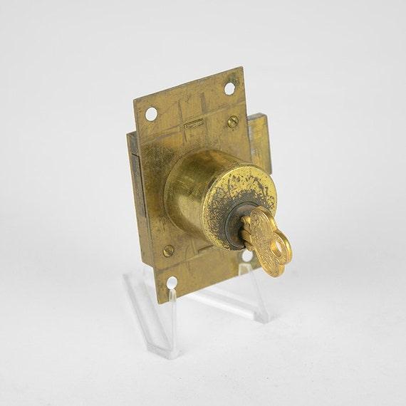 Vintage Lock, Surface Mount Barrel Lock, Fancy Flat Keys, Cabinet ...