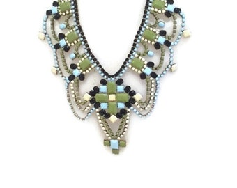 SPRING OLIVE spring summer 2016  hand painted rhinestone statement bib necklace
