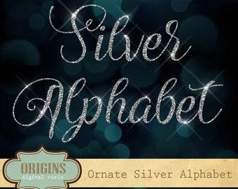 Ornate Silver Glitter Alphabet, Silver Glitter Letters Clipart, silver glitter clip art, diamond bling sparkle letters, cursive script font
