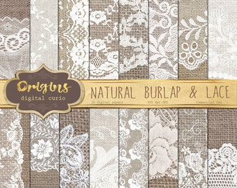 Natural Burlap and Lace Digital Paper, burlap digital paper, white lace digital paper, scrapbook paper, rustic wedding backgrounds textures