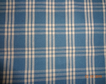 "Blue Cream Plaid Upholstery Fabric - By The Yard - 55"" wide"