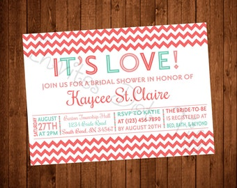 It's Love Chevron Bridal Shower Invite (Printable) (Many Colors Available!)