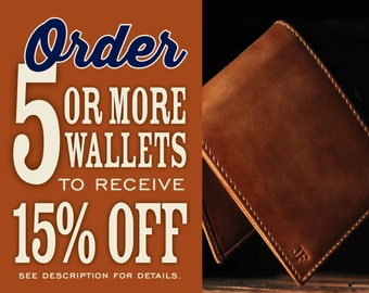 Set of 8 Jack DOUBLE ID Bifold Wallet•Personalized•Groomsmen Gift•Men's Leather Wallet•Bifold•Gifts for Guys