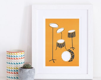 Drums Print, Music Art, Mid Century Modern, Gift For Dad, Illustration Poster, Retro Orange Black Print, Jazz Lovers, Apartment Decor
