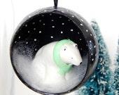 Bear Christmas tree ornament. Polar bear ornament. Bear holiday decor. Black & white Christmas decor. Polar bear figurine. Christmas diorama