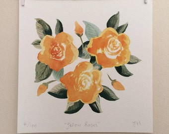 Square Giclee Print 'Yellow Roses' Illustration - Signed and Editioned