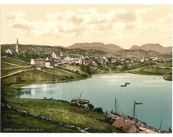 Clifden. County Galway, Ireland] 1890. Vintage photo postcard reprint 8x10-up. Ireland County Galway