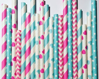 He or She/Boy or Girl paper straw pack, multipack of 25