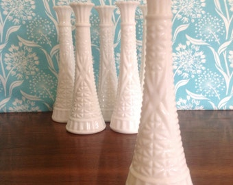 6 tall Milk glass vases, Anchor Hocking vases, 9 inches tall, milkglass, matching vases, wedding centerpiece