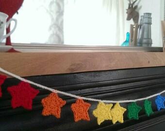 Bunting , star bunting , star, room decoration , Christmas bunting ,  star bunting , rainbows , gay pride , nursery bunting , crochet