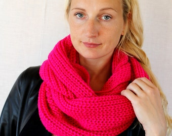 pink neon Scarf winter autumn,neckwarmer cowl,chunky cowl,pink neon, woman cowl,knit scarf, Infinity scarf circle scarf wrap cowl