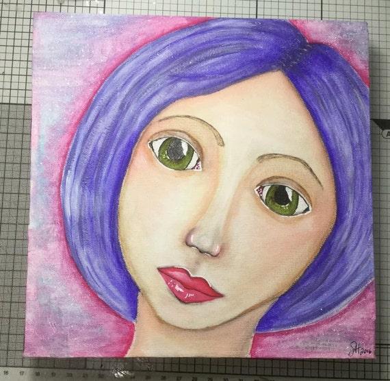 Purple girl canvas