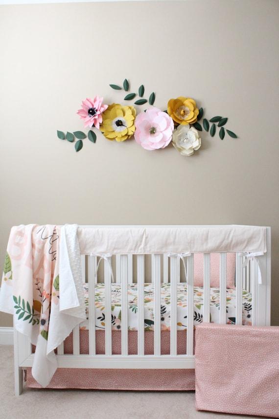 Floral Crib Bedding/ Baby Girl Bedding / Modern By