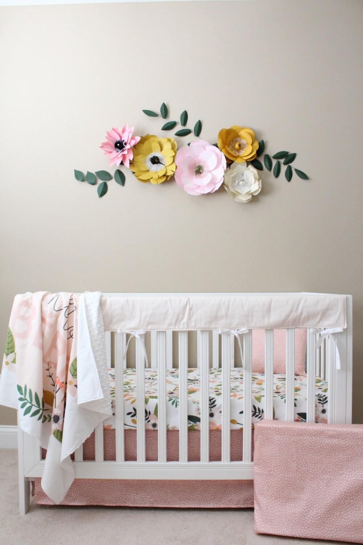 Floral crib bedding baby girl bedding modern by lillybrookebaby - Modern baby girl crib bedding ...