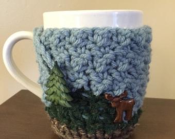 Mountain Moose Cozy Mug Sweater | Coffee | Tea | Cocoa | Cider