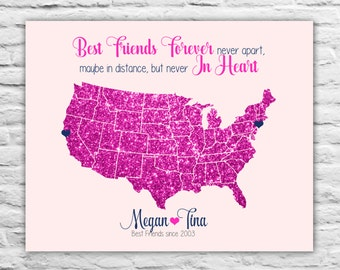 U.S. Map for Long Distance Friendship, Personalized Gift Idea, Pink Glitter, Fall Wedding Gift for Best Friend, Bridesmaid, Christmas Gifts