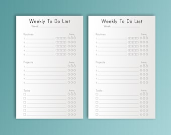 Weekly To Do Half Letter Size Inserts PLANNER Printable pdf. Tasks Projects Filofax Refill instant Download
