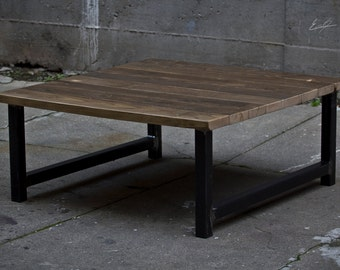 Square Wood and Steel Coffee Table