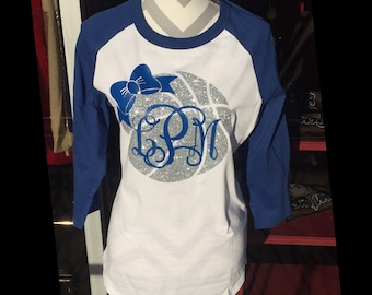 Glitter Basketball Bow Raglan