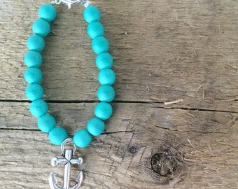 Toddler/Infant Turquoise + Silver Anchor Bracelet