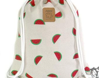 Watermelon Backpack Canvas Cotton drawstring Hip bag Handmade bag