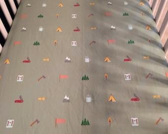 camping icons crib sheet//camping crib sheet//wes anderson baby bedding//wes anderson nursery