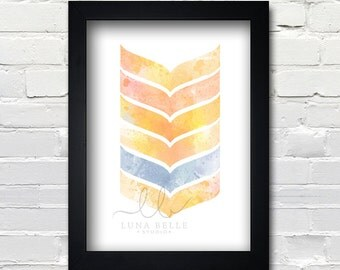 Abstract Orange Chevron Arrow 8x10 print PRINTABLE Instant Download