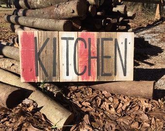 KITCHEN small distressed sign