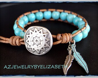 Handcrafted Native American Leather Wrap Bracelet With 8mm Turquoise Beads.