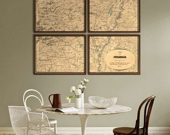 """Arkansas map 1864, old map of Arkansas state, 4 sizes up to 48x36"""" in 1 or 4 parts, original colors or in blue - Limited Edition of 100"""