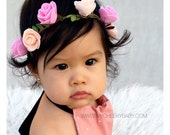 Pink Baby Flower Crown, Baby Headband, Newborn Toddler Headband, Baby Girl, Baby Photo Prop, Baby Shower Gift, Trendy Stylish Baby