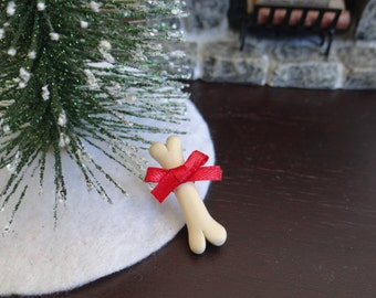 "Dollhouse Miniature Dog Bone w/ Bow Pet Gift Christmas Present 1"" scale 1:12"